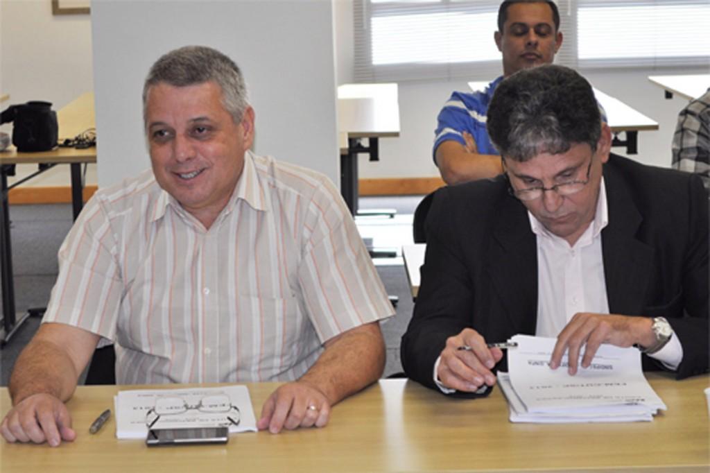 Valmir Marques, Biro Biro, presidente da FEM-CUT/SP e Dr. Oliveira, rodada do G3. Crédito: Paulo Souza/SMABC