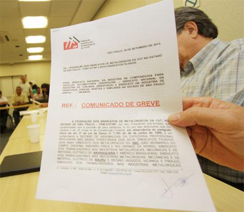 Todos os grupos patronais já receberam comunicado de greve (Crédito Paulo Souza-SMABC)
