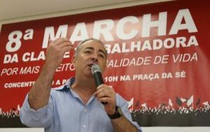 O secretário geral da CUT, Sérgio Nobre, durante coletiva de imprensa (Crédito: Roberto Parizotti)