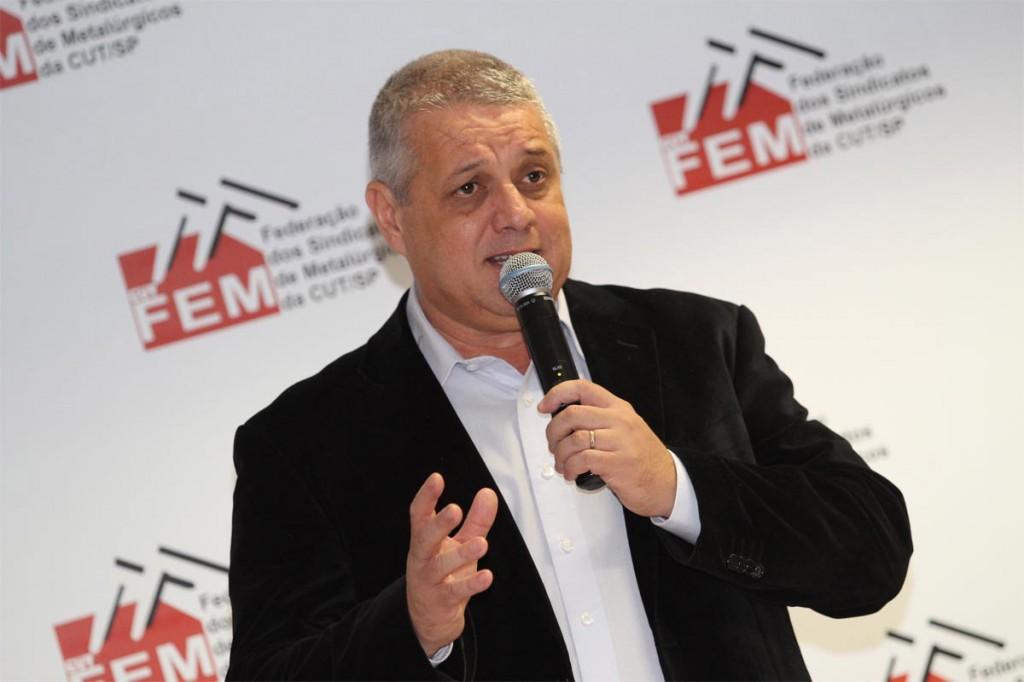 """O presidente da FEM-CUT/SP, Valmir Marques, o """"Biro-Biro"""" (Crédito foto: Adonis Guerra-SMABC)"""