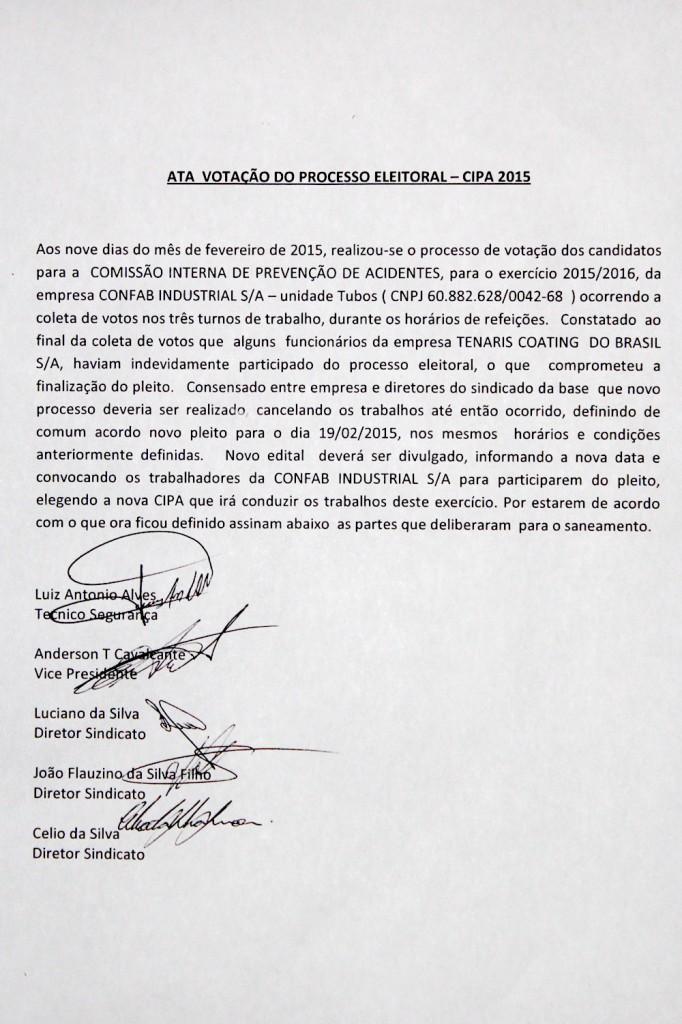 2015_02_10 Ata que anulou eleição da Cipa na Confab Tubos