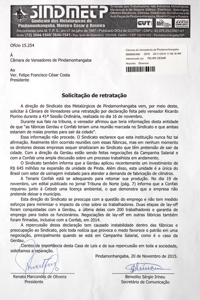 2015_11_20 Ofício Pedido de Retratação à Camara Municipal-Ver. Ricardo Piorino_8773_1