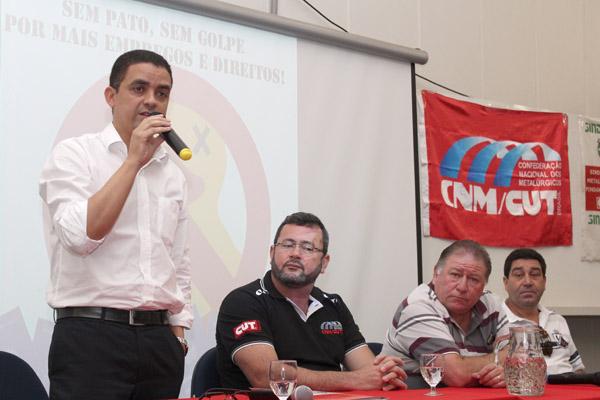 Isaac do Carmo, Herivelto Vela, Renato Mamão e José Antonio - Lagoinha, durante seminário, um evento interno da direção do sindicato