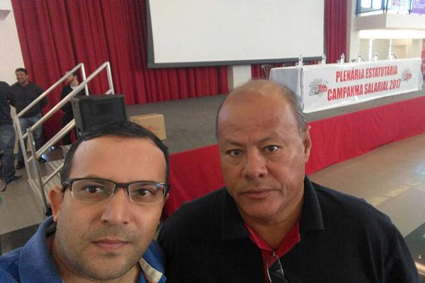 O secretário geral do sindicato, Luciano da Silva - Tremembé, e o dirigente Ronaldo Cardoso - Pit Bull