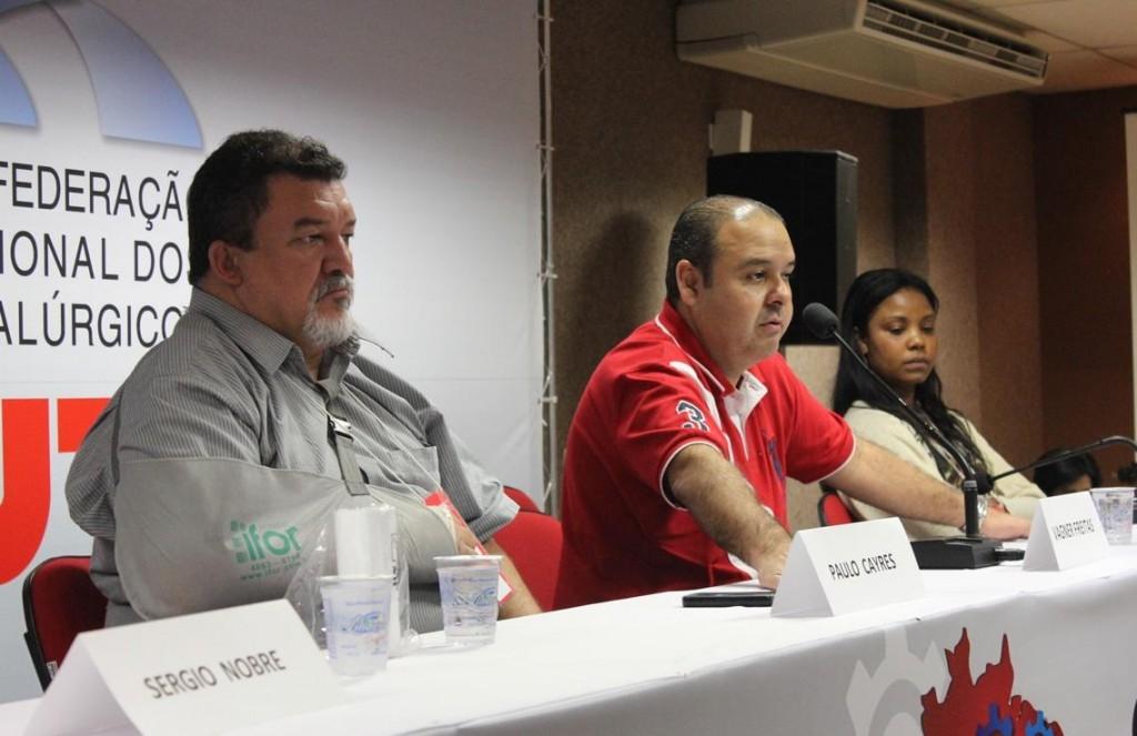 A partir da esq., Paulo Cayres, Vagner Freitas e Christiane dos Santos; crédito: CNM/CUT