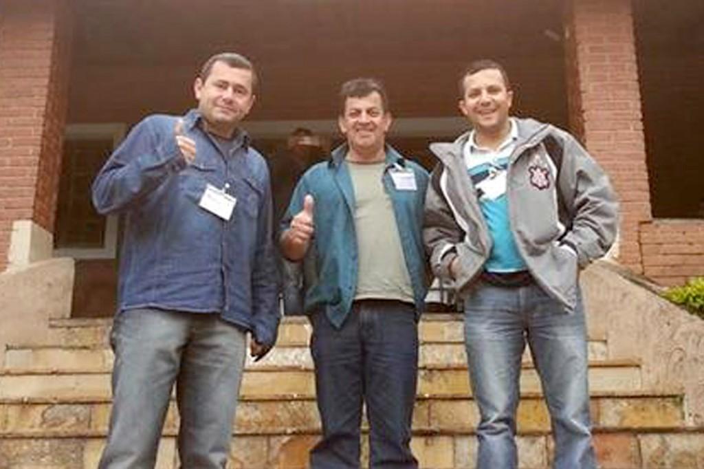 O secretário geral Herivelto – Vela, o secretário de Formação Celso Antunes, e o dirigente Luciano – Tremembé, que também é secretário de Juventude da FEM-CUT/SP (Crédito: Divulgação)