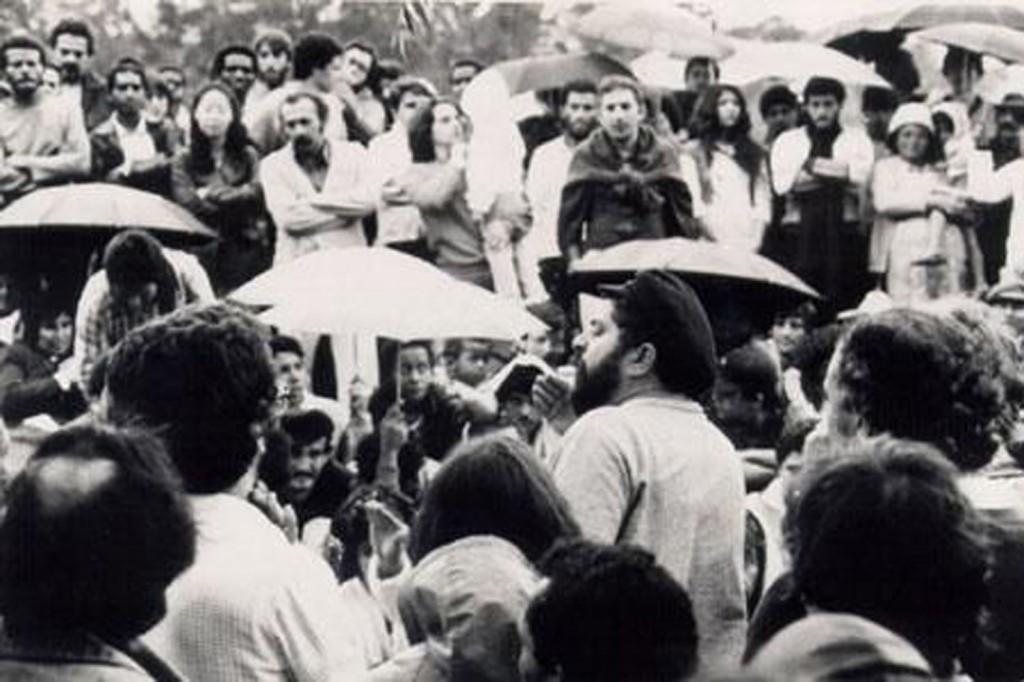 Lula fala aos delegados no Congresso de 1983.Crédito ABC de Luta