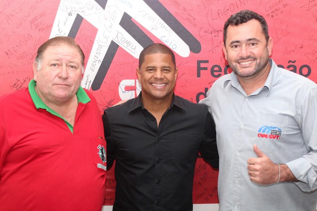 Mamão, Marcelinho e Vela, na sede do Sindicato dos Metalúrgicos
