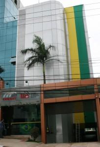 Sede da FEM-CUT/SP e CNM/CUT também foi decorado nas cores verde e amarelo (Crédito foto: Mídia Consulte)