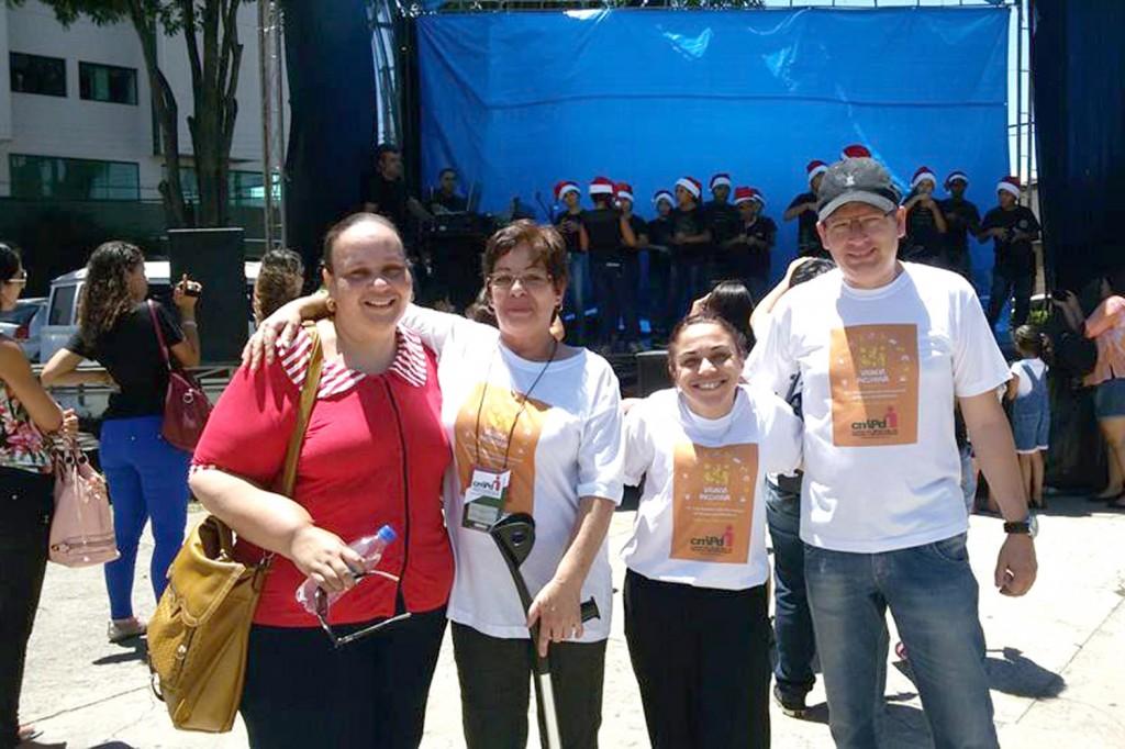 Ação em Pinda pela Virada Inclusiva, que ocorreu em todo o Estado, na praça do Quartel (Crédito: Divulgação)