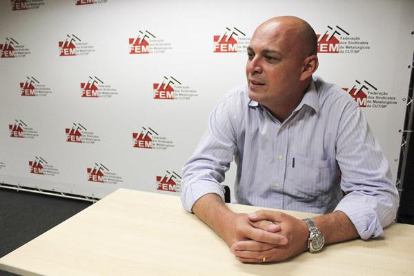 Marcelo Pepeo, dirigente sindical na Novelis e também Secretário de Saúde e Meio Ambiente da FEM-CUT/SP (foto Nayara Striani-Mídia Consulte)