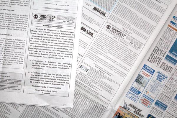 Edital de convocação foi publicado em jornal local e também regional
