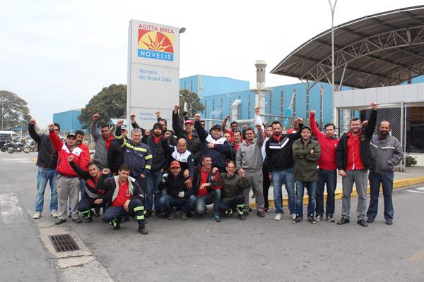 Direção sindical durante mobilização pela Campanha Salarial