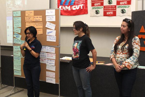 Equipe que conduziu o planejamento da direção, Dilu e Renata, da CNM/CUT, e Dayanna, da FEM-CUT/SP
