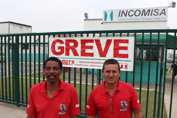 Os dirigentes sindicais na Incomisa, Rivelino e André