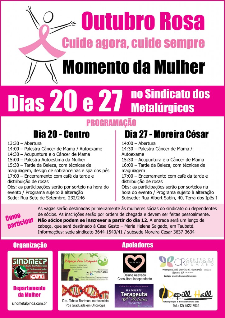 Cartaz campanha Outubro Rosa - net