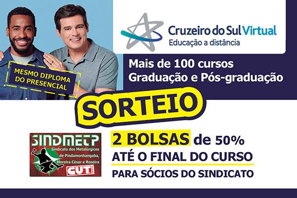 Sindicato vai sortear 2 bolsas de 50% da faculdade Cruzeiro do Sul Virtual